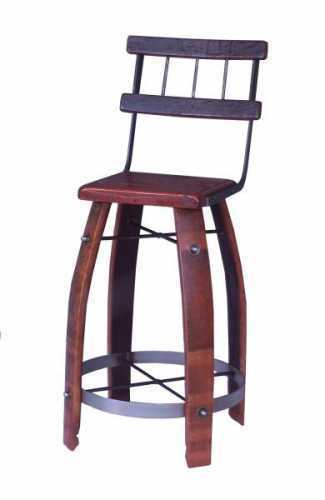 Reclaimed Wine Barrel Wood Stave Bar Stool w/back