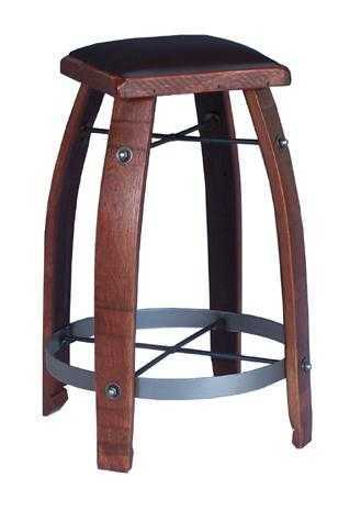 Reclaimed Wine Barrel Choc. Leather Bar Stool