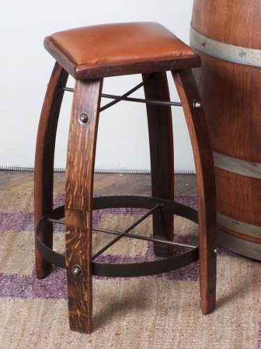Reclaimed Wine Barrel Tan Leather Bar Stool