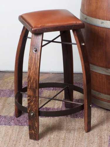Reclaimed Wine Barrel Tan Leather Bar Stool