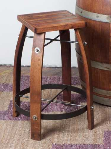 Reclaimed Wine Barrel Wood Stave Bar Stool