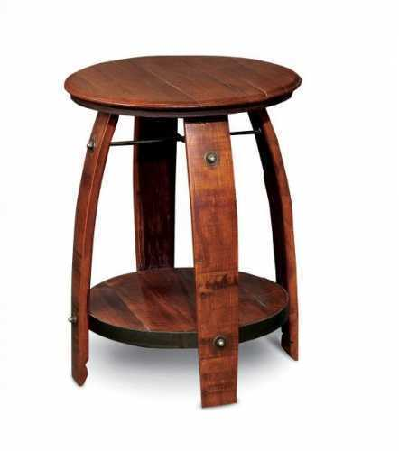Reclaimed Wine Barrel Side Table with Shelf