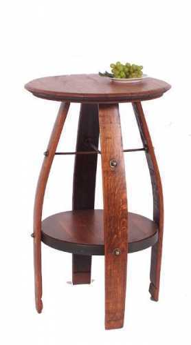 Reclaimed Wine Barrel,  Bistro Table with Shelf