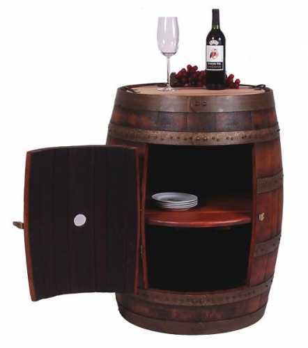 Reclaimed Wine Barrel Cabinet with Tray
