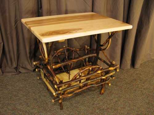 Hickory Rectangle End Table w/ Magazine Rack