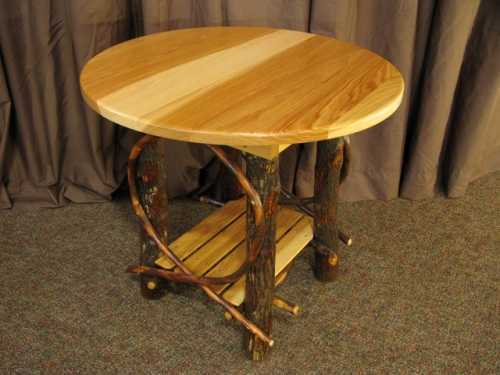 Hickory Round End Table
