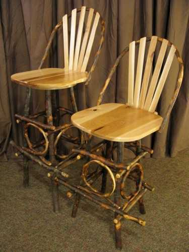 Hickory Bar Stool with Back and Swivel