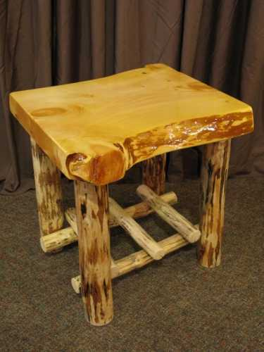 Live Edge Pine Slab End Table