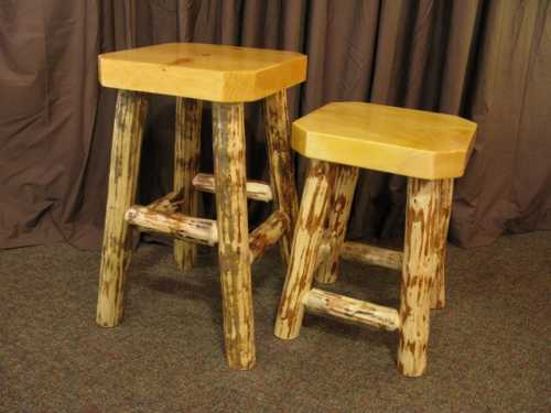 Pine Slab Bar Stool