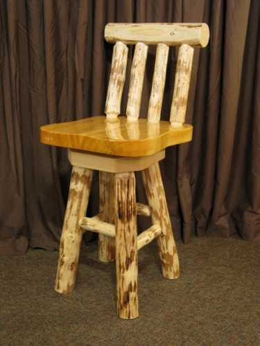 Pine Slab Bar Stool with Back and Swivel