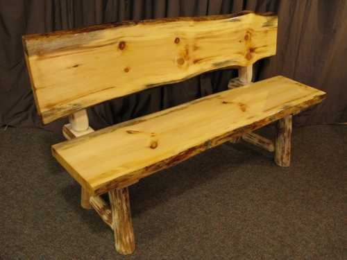 Live Edge Pine Bench With Back Papa